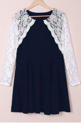 Stylish Round Collar Lace Splicing Plus Size Long Sleeve Dress For Women