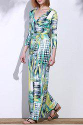 Graceful Plunging Neck 3/4 Sleeve Geometric Printed Maxi Dress For Women - COLORMIX M