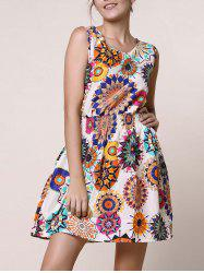 Casual Scoop Neck Sleeveless Elastic Waist Floral Print Women's Dress