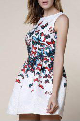 Sweet Round Neck Sleeveless Butterfly Print Dress For Women -