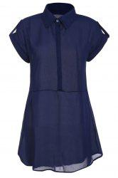 Women's Cap Sleeve Stretch Chiffon Open Loop Shirt Mini Dress - CADETBLUE