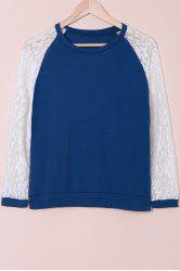 Sweet Round Neck Lace Splicing Long Sleeve Sweatshirt For Women - BLUE