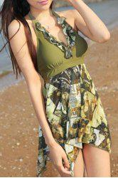Fashionable Halter Figure Print Asymmetrical Two-Piece Swimsuit For Women - ARMY GREEN L