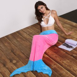 Mermaid Tail Color Block Sleeping Bag Fleece Throws and Blankets - ROSE