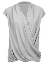 Fashionable Plunging Neck Cap Sleeve Wrap Top For Women -