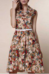 Retro Style Turn-Down Collar Sleeveless Ball Gown Floral Print Dress For Women - APRICOT S