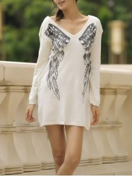 Stylish V-Neck Long Sleeve Wing Pattern Loose-Fitting Women's Sweater - OFF WHITE S