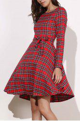 Vintage Long Sleeve Plaid Self-Tie 1940S Swing Dress - RED
