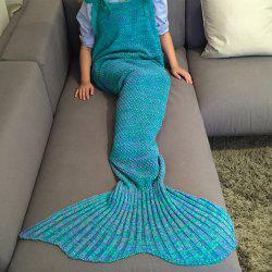 Exquisite Comfortable Drawstring Style Knitted Mermaid Design Throw Blanket - LAKE BLUE
