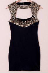 Cut Out Bodycon Club Dress - BLACK AND GOLDEN