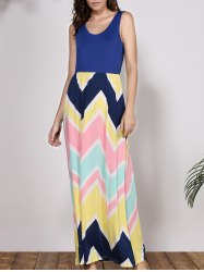 Bohemian Scoop Neck Sleeveless Chevron Maxi Dress -
