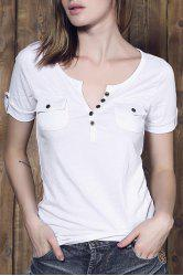 Stylish Plunging Neck Short Sleeve Button Design T-Shirt For Women
