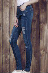 High Waisted Ripped Skinny Jeans - Bleu