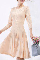 Cable Knit Knee Length Sweater Dress