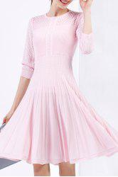 Cable Knit Knee Length Sweater Dress - PINK S
