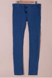 Fashionable Solid Color Skinny High-Waisted Jeans For Women - AZURE