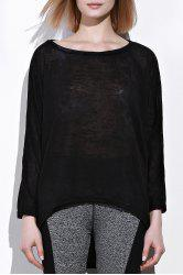 Dolman Sleeve Asymmetrical Sweater - BLACK