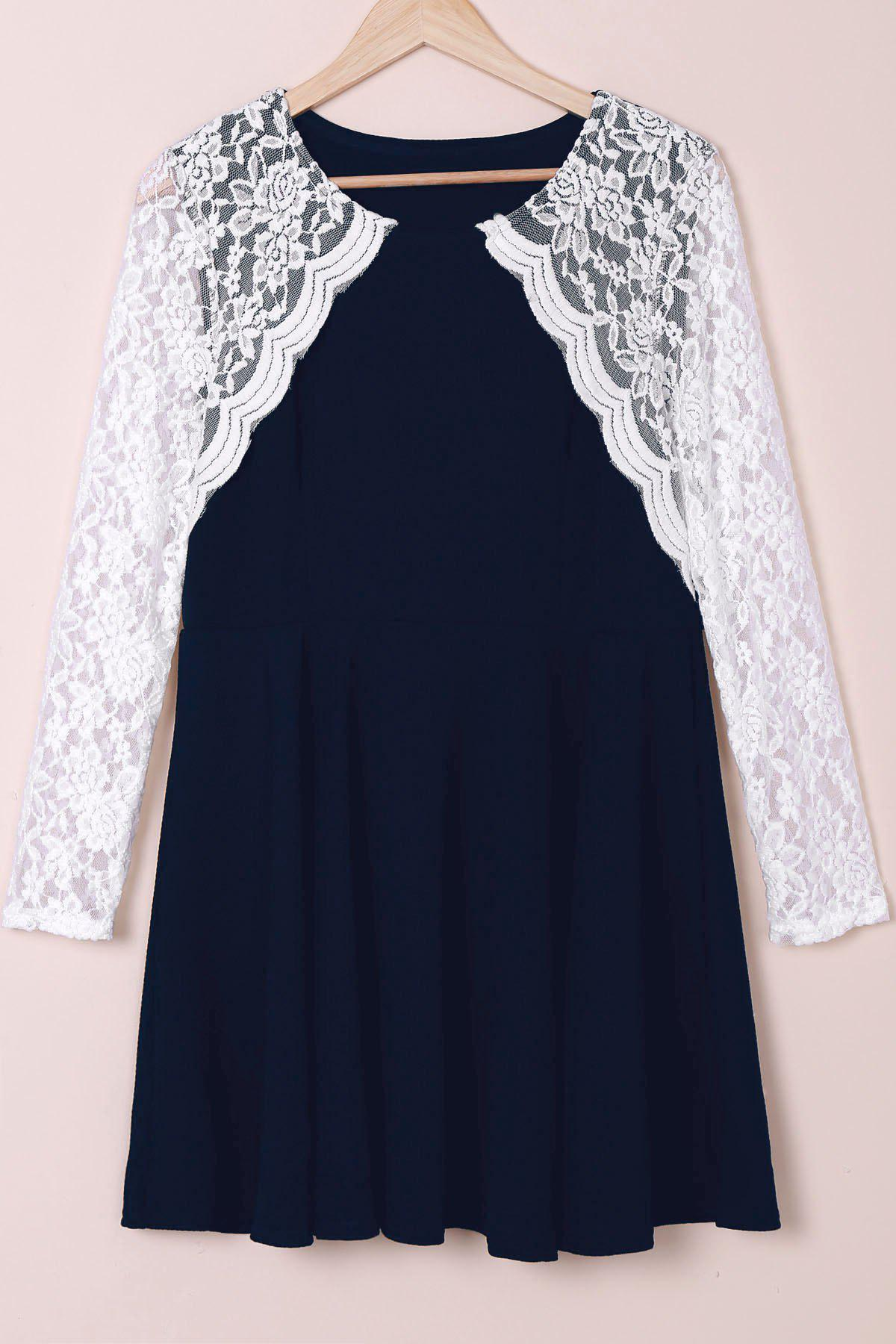 Shop Stylish Round Collar Lace Splicing Plus Size Long Sleeve Dress For Women