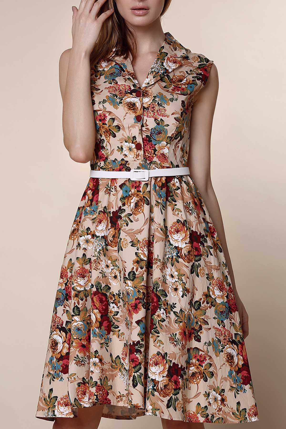 04984119728f Shop Retro Style Turn-Down Collar Sleeveless Ball Gown Floral Print Dress  For Women
