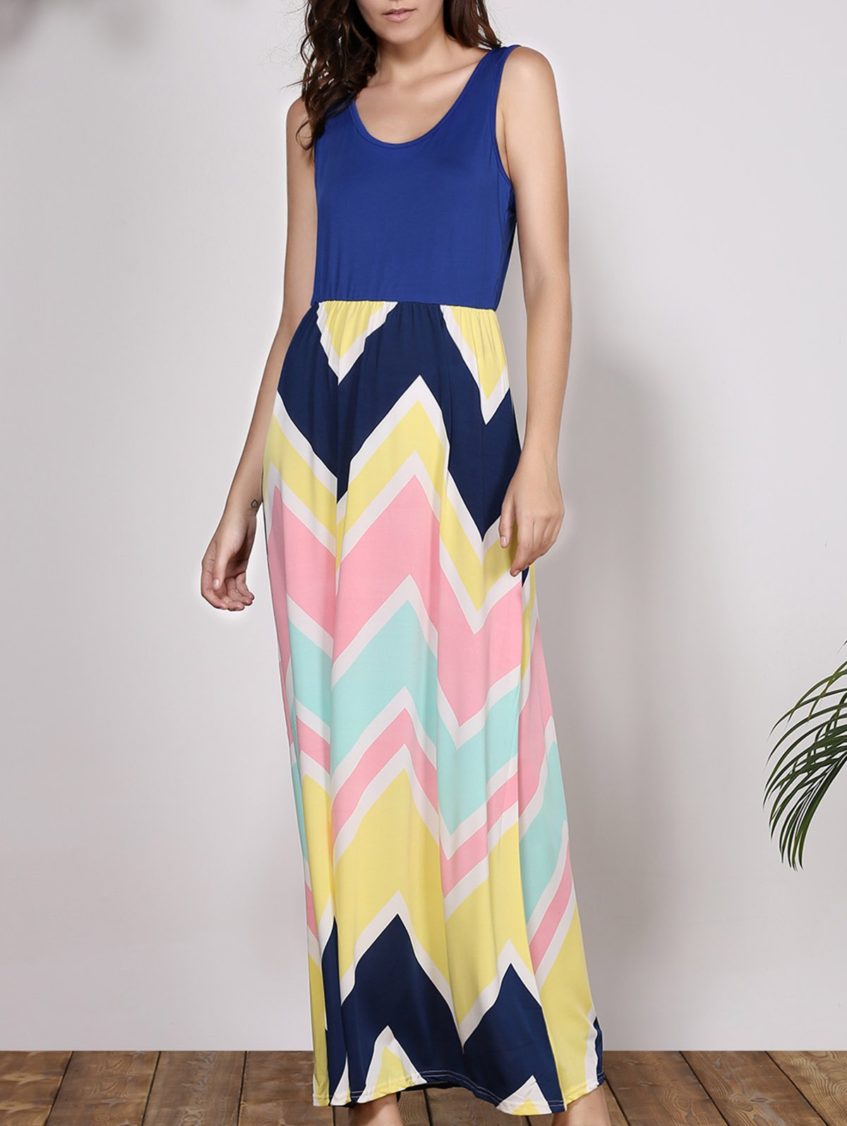 Fashion Bohemian Scoop Neck Sleeveless Chevron Maxi Dress
