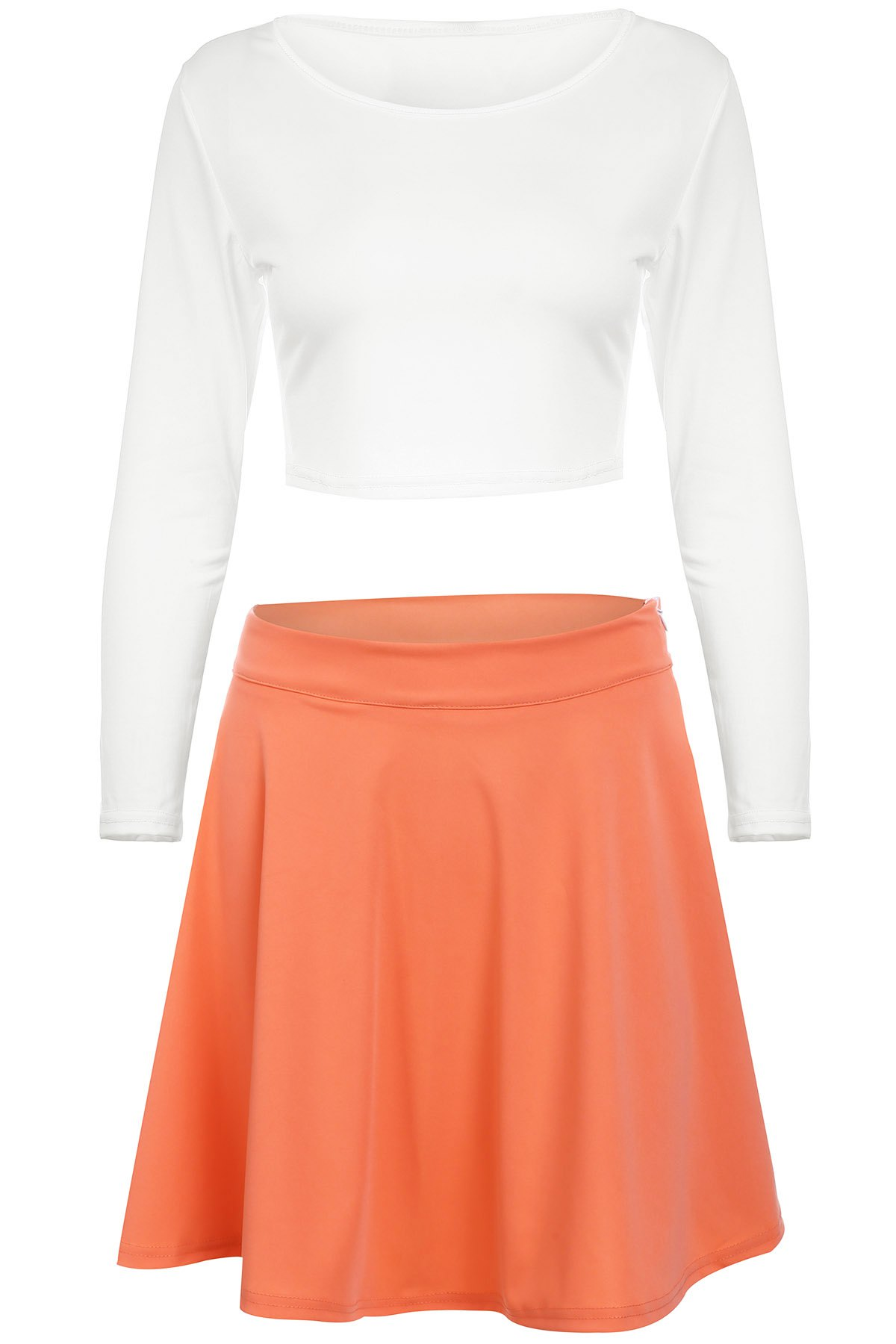 Sale Street Style Scoop Neck Long Sleeve White Crop Top and Neon Coral Short Skirt Suit For Women