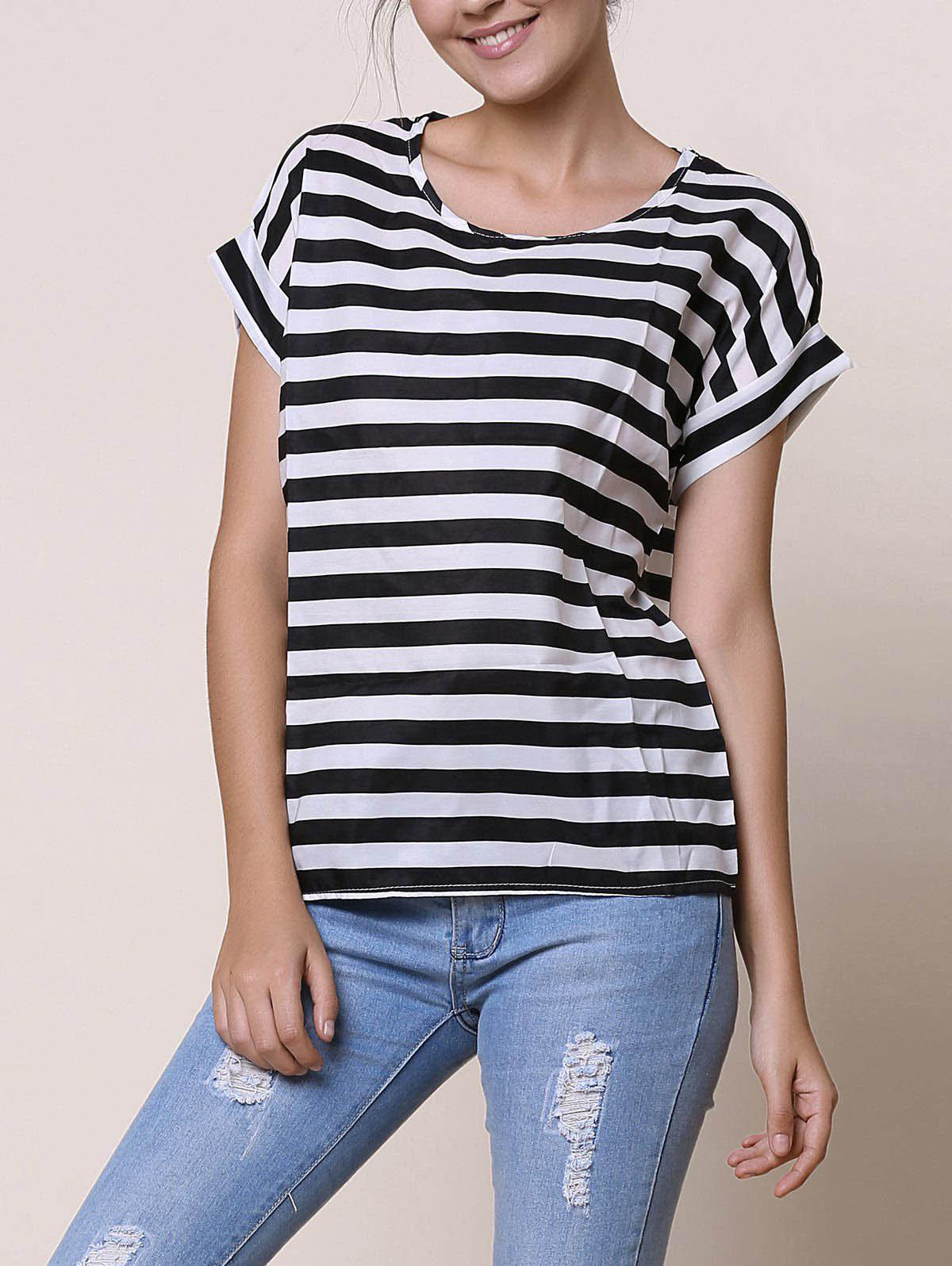 Trendy Stylish Scoop Collar Short Sleeve Striped Chiffon Women's Blouse