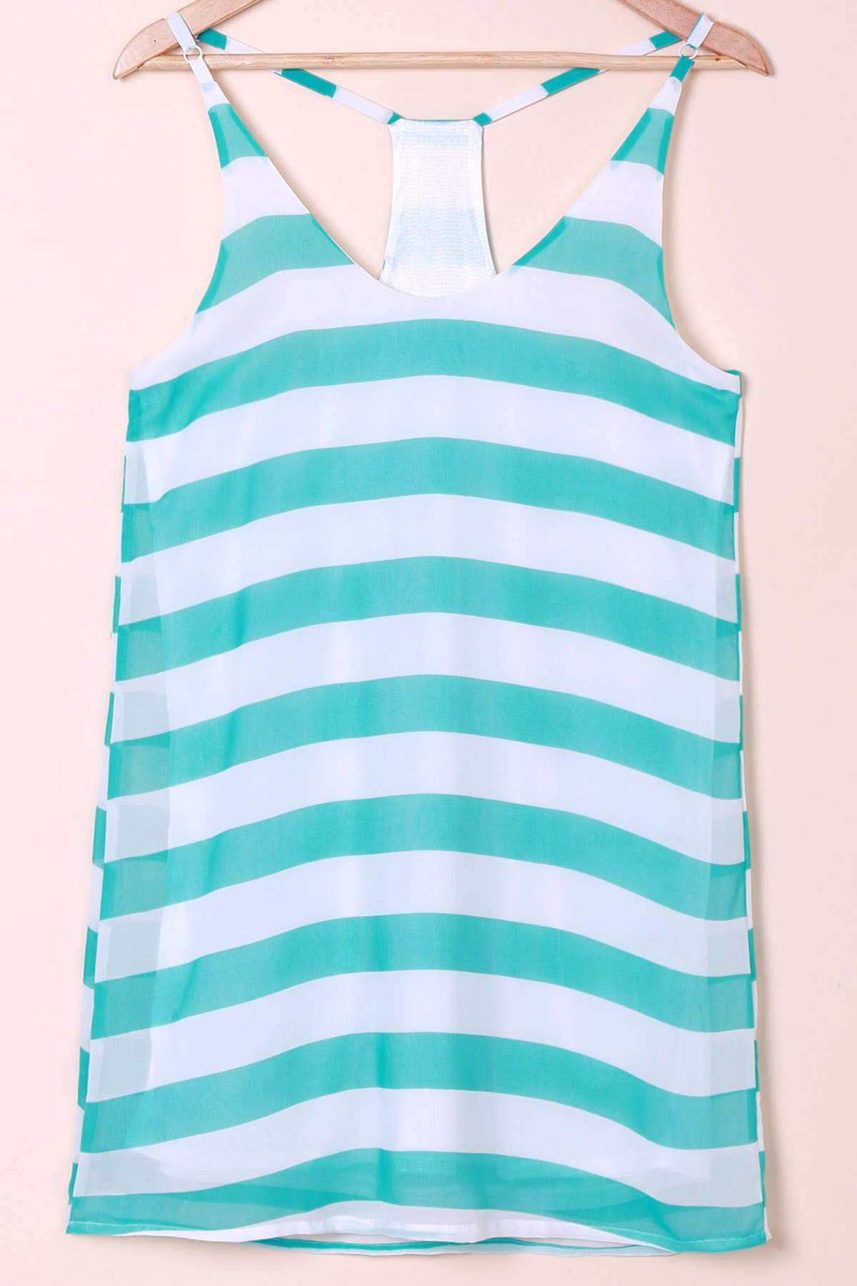 Trendy Casual Scoop Collar Sleeveless Color Block Striped Women's Sundress