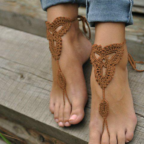 Pair of Charming Knitted Clover Sandal Anklets For WomenJEWELRY<br><br>Color: KHAKI; Gender: For Women; Style: Trendy; Shape/Pattern: Plant; Weight: 0.030kg; Package Contents: 1 x Anklet (Pair);