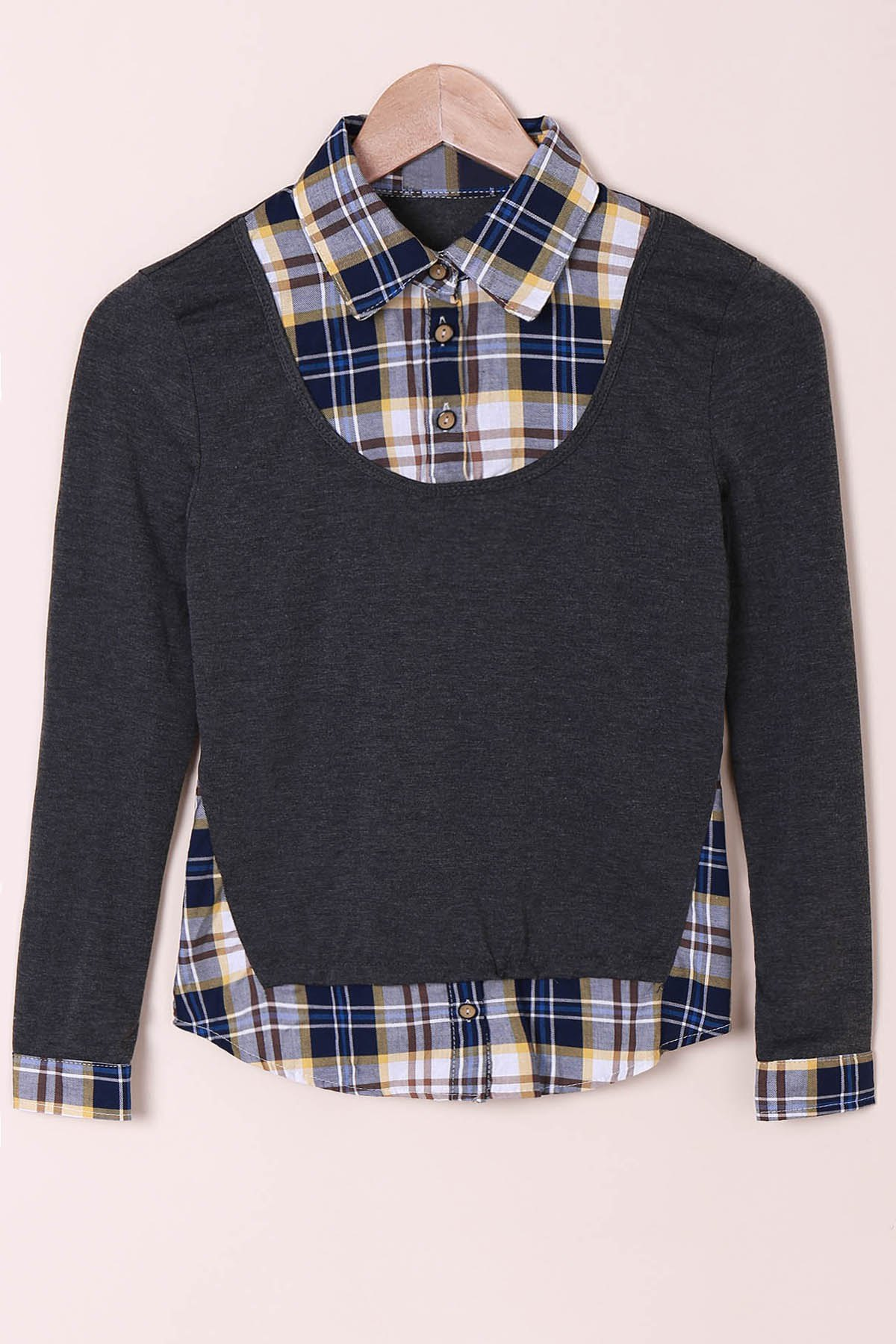 Casual Shirt Collar Long Sleeve Spliced Plaid Faux Twinset Womens ShirtWOMEN<br><br>Size: M; Color: DEEP GRAY; Style: Casual; Material: Cotton Blends; Shirt Length: Regular; Sleeve Length: Full; Collar: Shirt Collar; Pattern Type: Plaid; Weight: 0.262kg; Package Contents: 1 x Shirt;