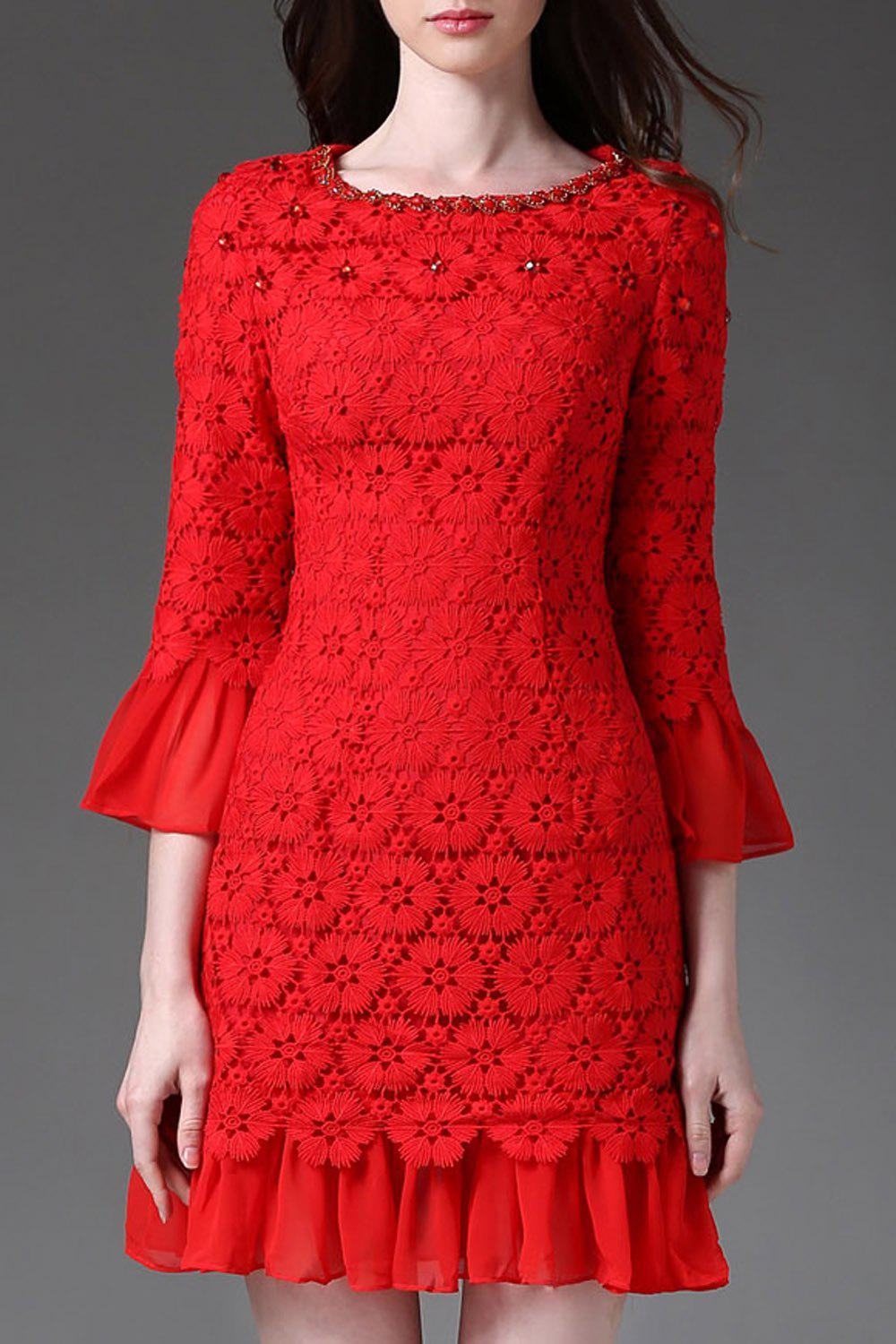 New Round Collar Beaded Pierced Lace Flare Sleeve Dress