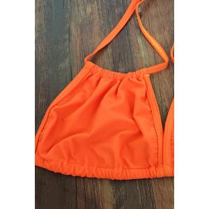 Trendy Lace-Up Orange Women's Bikini Set -