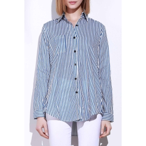 Single Pocket Striped Button Down Shirt - Blue And White - M