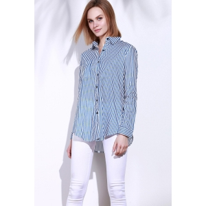 Single Pocket Striped Button Down Shirt - BLUE AND WHITE M