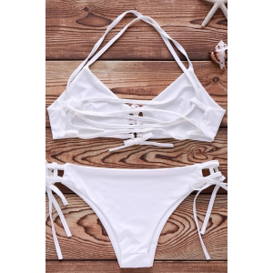 Spaghetti Strap Lace Up String Bathing Suit - WHITE S