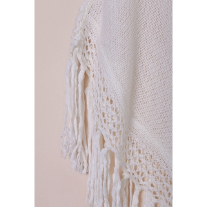 Tassels Open Knit Poncho Cover Up - WHITE ONE SIZE(FIT SIZE XS TO M)