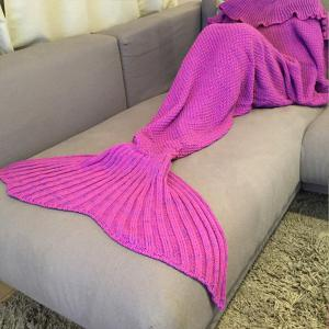 Fashion Comfortable Falbala Decor Knitted Mermaid Design Throw Blanket - ROSE