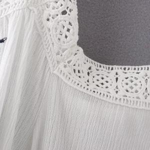 Ethnic Style Spaghetti Strap Cut Out Embroidered Women's Blouse - WHITE M