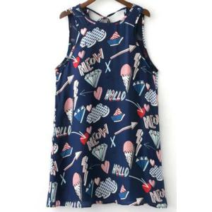 Stylish Round Neck Sleeveless Ice Cream Print Women's Mini Sundress - Colormix - M