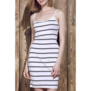 Fashionable Striped Open Back Bodycon Cami Dress For Women - White - One Size(fit Size Xs To M)