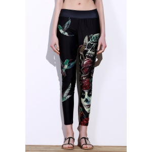 Active Elastic Waist Bird And Skull Print Slimming Women's Pants - Black - One Size(fit Size Xs To M)