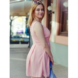 Fashion Plunging Neck Sleeveless Solid Color Zippered Women's Dress - PINK L