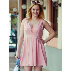 Fashion Plunging Neck Sleeveless Solid Color Zippered Women's Dress -