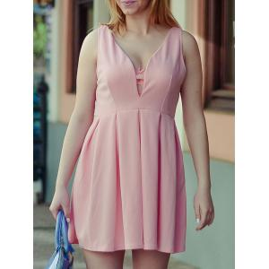 Fashion Plunging Neck Sleeveless Solid Color Zippered Women's Dress