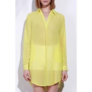 Stylish Turn-Down Collar Solid Color Loose-Fitting Long Sleeve Dress For Women - Yellow - L