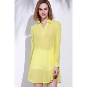 Stylish Turn-Down Collar Solid Color Loose-Fitting Long Sleeve Dress For Women -