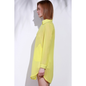 Stylish Turn-Down Collar Solid Color Loose-Fitting Long Sleeve Dress For Women - YELLOW S