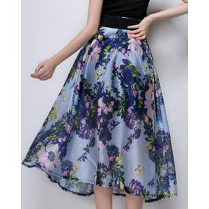 Midi Floral A Line Swing Skirt -