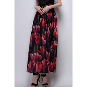 Long Floral A Line Skirt
