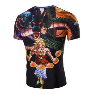 Slim Fit 3D Dragon Printed Round Collar Short Sleeves T-Shirt For Men - BLACK M