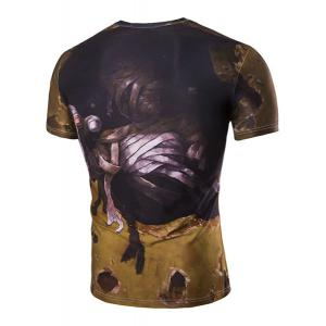 Slim Fit 3D Mummy Printed Round Collar Short Sleeves T-Shirt For Men -